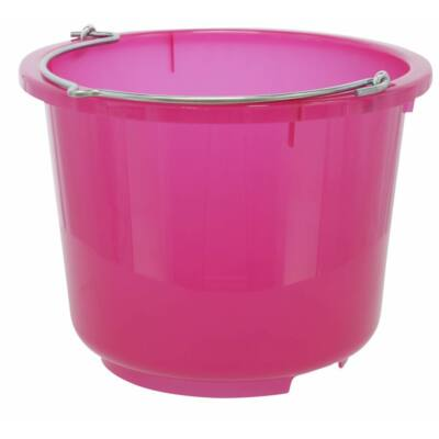 Műanyag vödör füllel, 12 l, rózsaszín, átlátszó